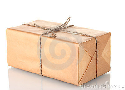 Parcel wrapped in brown paper tied with twine