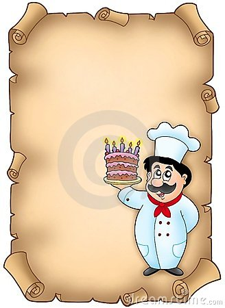 Parchment with chef holding cake