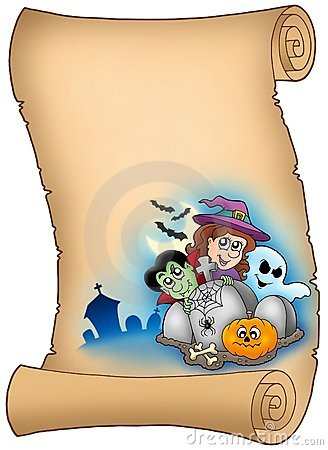 Parchment with Halloween characters