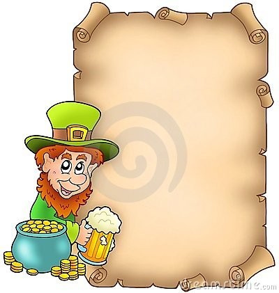 Parchment with leprechaun and gold