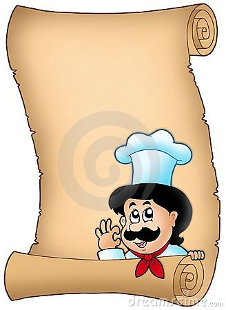 Parchment with lurking cartoon chef