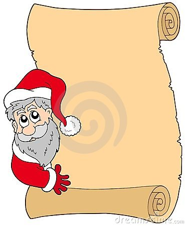 Parchment with lurking Santa Claus