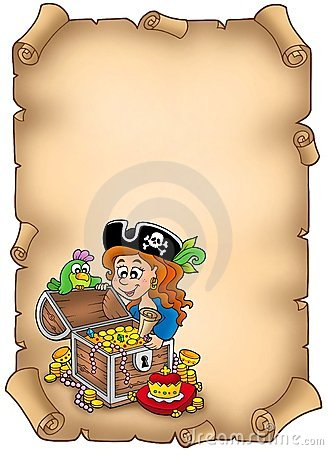 Parchment with pirate girl and treasure