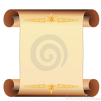 Parchment scroll with gold decoration