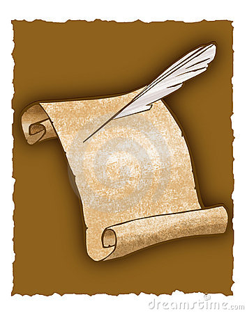 Parchment scroll and quill pen