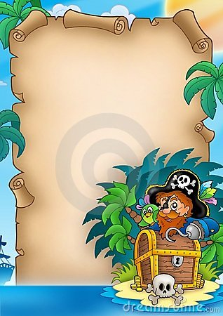 Free Parchment With Pirate On Island Royalty Free Stock Images - 14511339