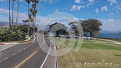 Parco Santa Barbara Flyover di Shoreline stock footage