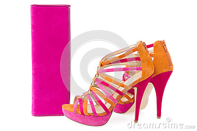 Pare of pink and orange shoes and a matching bag