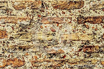 Parede estrutural velha do tijolo como o fundo