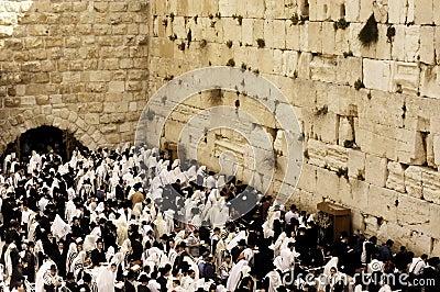 Parede lamentando em Jerusalem Imagem Editorial