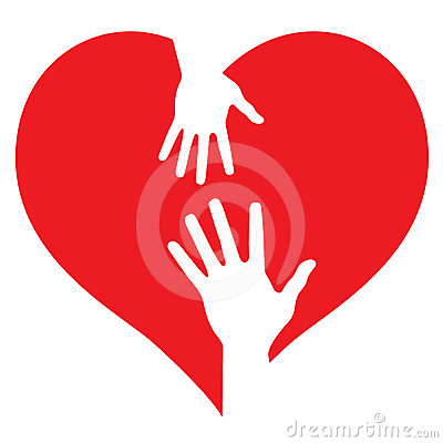 Parent and baby hands on heart