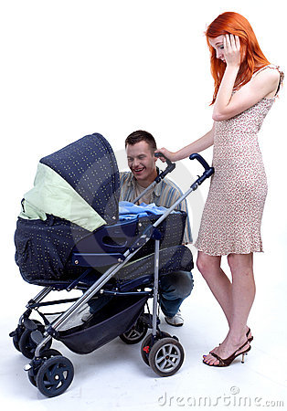 Parent with baby stroller