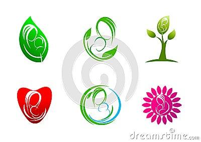 Parenting,logo,care,plants,leaf,symbol,icon,design,concept,natural,mother,love,child Vector Illustration