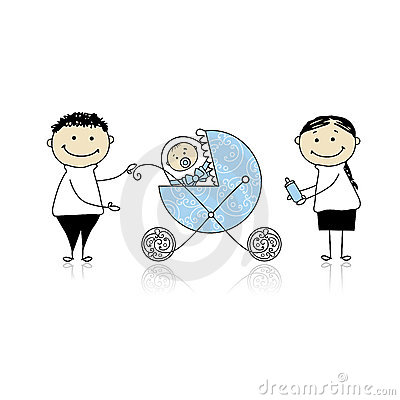 Parents with baby in buggy walking