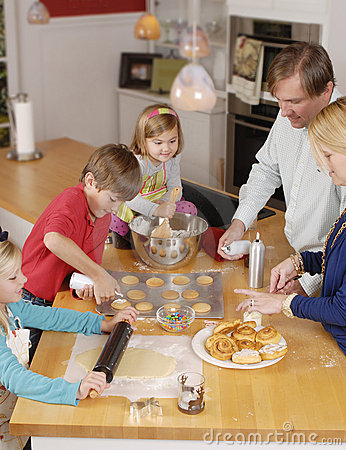 Parents cooking with children