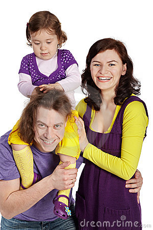 Parents and daughter sits on father s shoulder