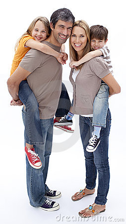 Parents giving children piggyback ride