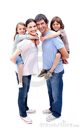 Free Parents Giving Their Children A Piggyback Ride Royalty Free Stock Images - 12809389