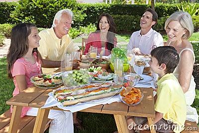 Parents Grandparents Children Family Eating