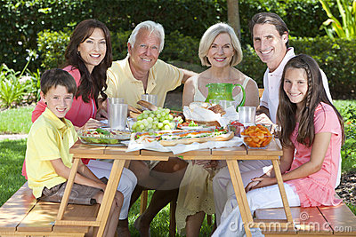 Parents Grandparents Children Family Eating