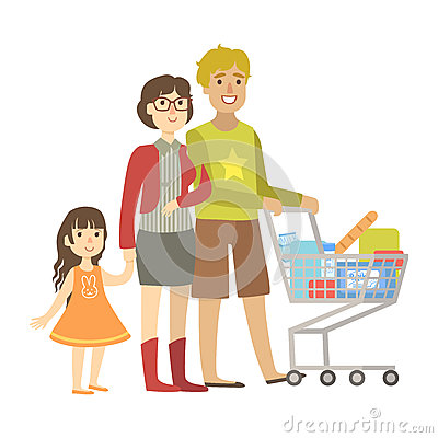 Parents And Little Daughter Shopping For Groceries In Supermarket, Illustration From Happy Loving Families Series Vector Illustration