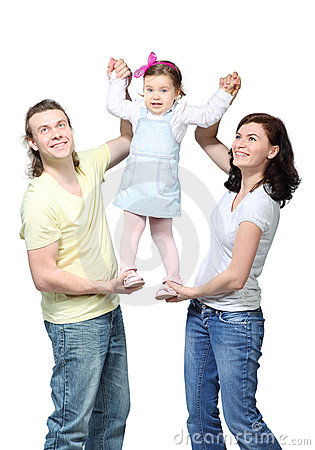 Parents support little girl