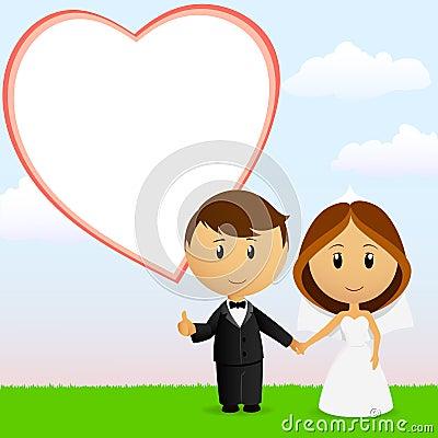 Pares bonitos do casamento dos desenhos animados com fundo
