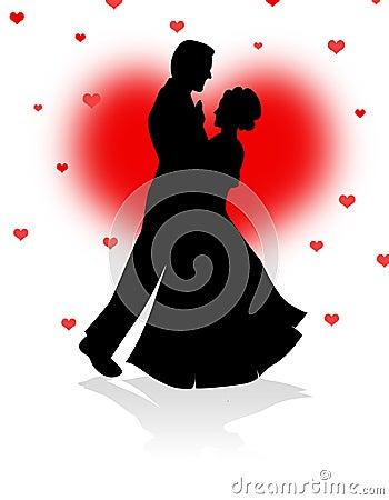 Pares da dança com fundo vermelho dos corações