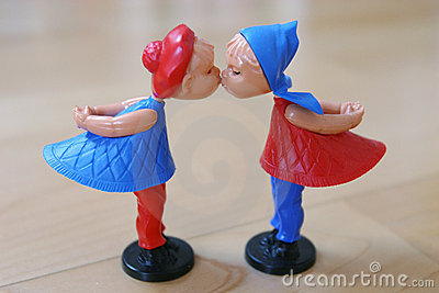 Pares de las marionetas de la tarjeta del día de San Valentín