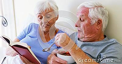 Pares mayores que obran recíprocamente con uno a mientras que lee el libro almacen de video