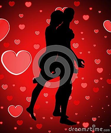Pares mostrados em silhueta com amor