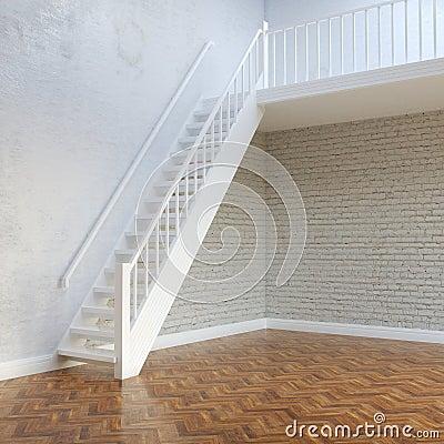 Pareti interne dei mattoni bianchi con le scale al secondo piano fotografia stock libera da - Progetto scale interne ...