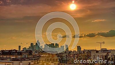 paris оборона Ла, панорама захода солнца Промежуток времени акции видеоматериалы