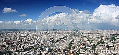Paris aerial cloudscape panorama