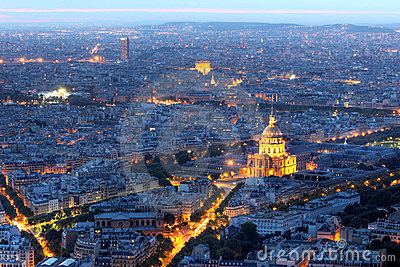 Paris aerial at night with Les Invalides, France