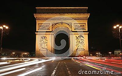 Paris Arc de Triomphe at Night
