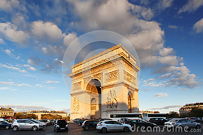 Paris, Arc de Triumph in evening , France