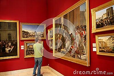 Paris Art Gallery with battle scenes Editorial Photo