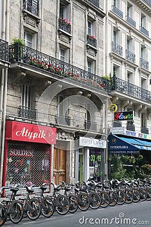 Paris bike rental Editorial Stock Image