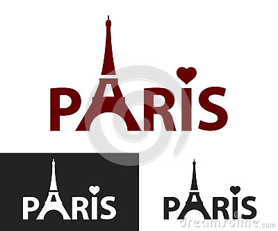 black and white decorative lettering tower eiffel with paris lettering