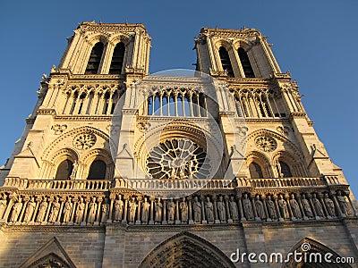 Paris cathedral facade