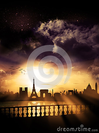 Free Paris City - Skyline / Silhouette, France Stock Photography - 44104352