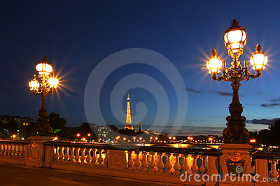 Paris cityscape at night. Editorial Photography