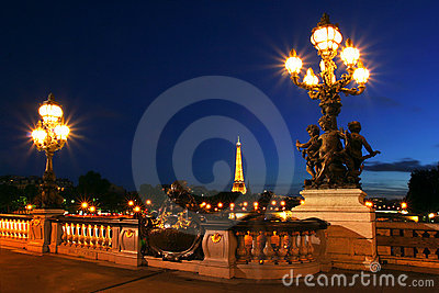 Paris cityscape at night. Editorial Image