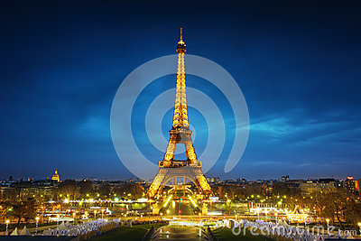 Paris cityscape at sunset Editorial Stock Photo