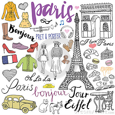 Free Paris Doodles Elements. Hand Drawn Set With Eiffel Tower Bred Cafe, Taxi Triumf Arch, Fashion Elements, Cat And French Bulldog. Dr Royalty Free Stock Image - 61128536