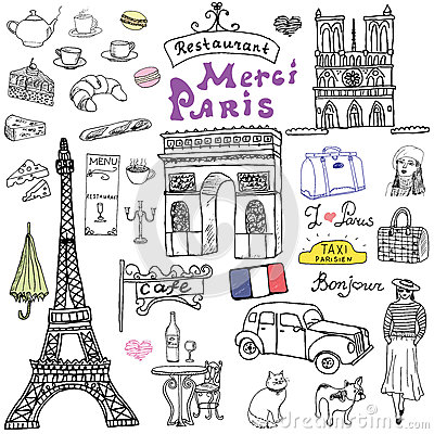 Free Paris Doodles Elements. Hand Drawn Set With Eiffel Tower Bred Cafe, Taxi Triumf Arch, Notre Dame Cathedral, Facion Elements, Cat A Stock Photo - 58164400