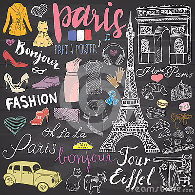 Free Paris Doodles Elements. Hand Drawn Set With Eiffel Tower Bred Cafe, Taxi Triumf Arch, Notre Dame Cathedral, Fashion Elements, Cat Stock Images - 67926594