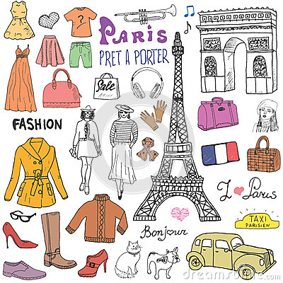 Free Paris Doodles Elements. Hand Drawn Set With Eiffel Tower, Taxi Triumf Arch, Models And Facion Elements, Cat And French Bulldog. Dr Royalty Free Stock Photos - 58473428