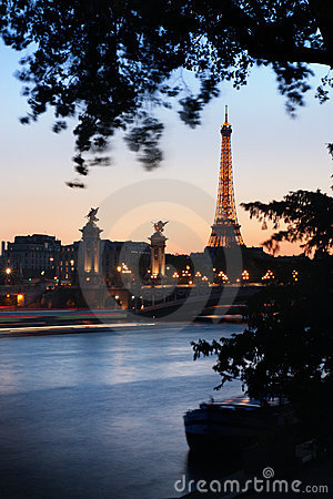 Paris at dusk Editorial Photo